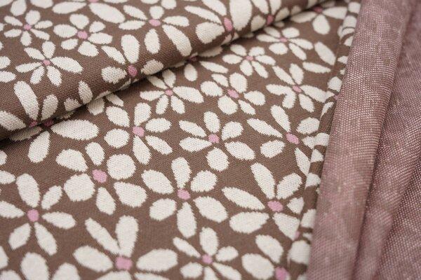 Jacquard-Sweat Ben mit großen Blümchen taupe braun / off white / altrosa Blumen