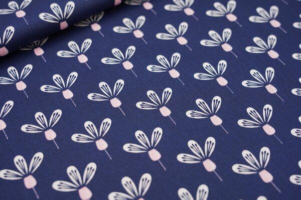 Baumwolle mit Blumen-Muster dunkelblau / weiß / rosa