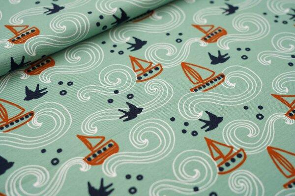 Baumwoll-Jersey Meer Wellen Boote Schwalben auf altgrün maritim