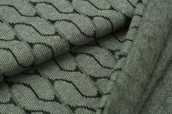 Jacquard-Jersey Strickstoff Retro Muster grau Melange