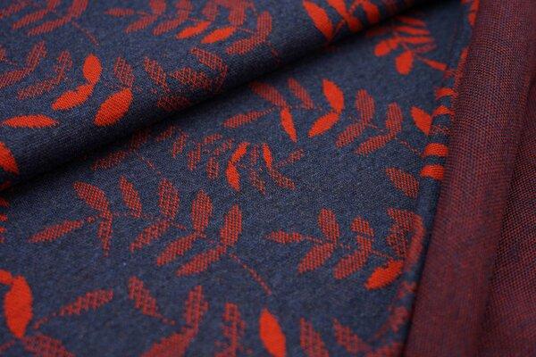 Jacquard-Sweat Mia rost orange Blätter auf navy blau Melange