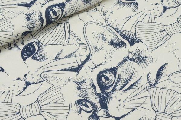 Jersey Marie Katzen navy blau auf ecru creme