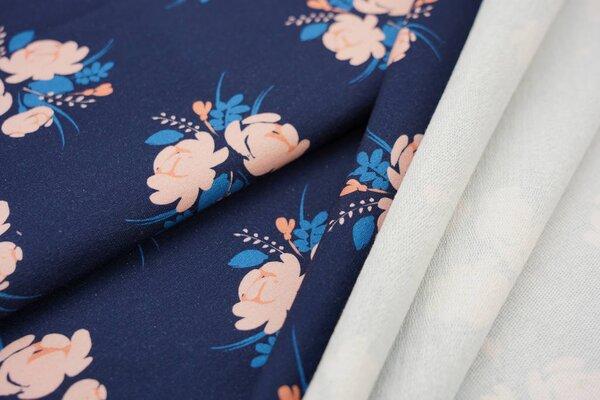 XXL Baumwoll-Sweat Digitaldruck Blumen Bouquet auf dunkelblau mit lachs rosa