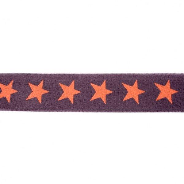 Breites Gummiband 40 mm Sterne dunkelgrau / pfirsich