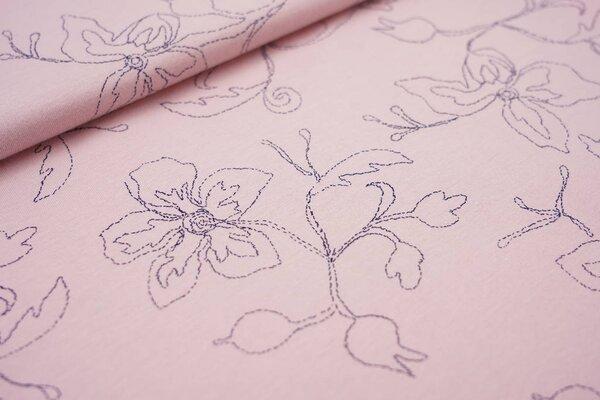 Sommer T-Shirt-Stoff / leichter Jersey Blumen-Umrisse auf pastell rosa