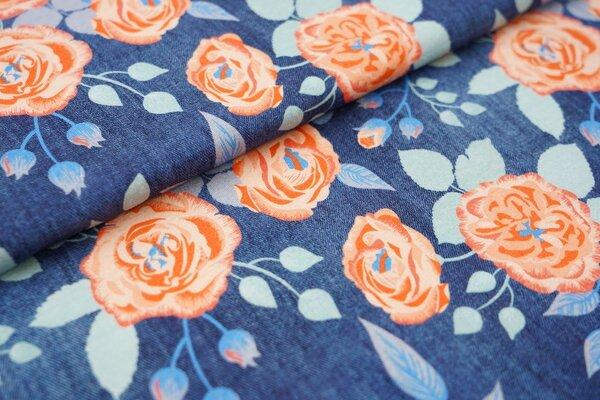 Baumwoll-Jersey in Jeanspotik große Rosen dunkel jeansblau Blumen