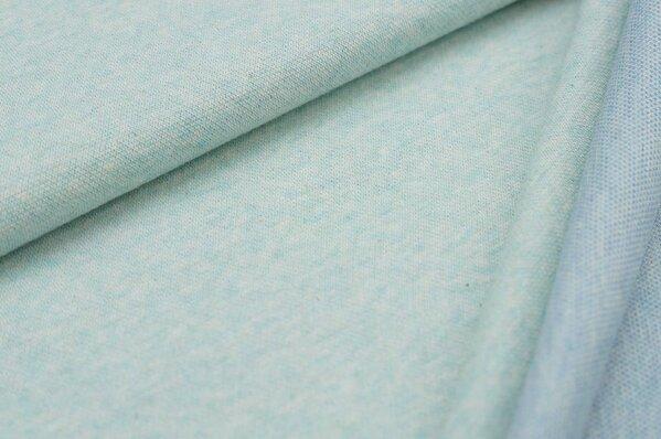 Jacquard-Sweat Mia uni pastell mint Melange / Rückseite pastell jeansblau