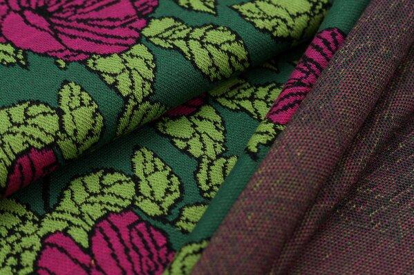 Jacquard-Sweat Ben Blumen-Muster mit Blättern grün / hellgrün / amarant pink