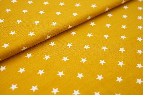 Baumwoll-Jersey weisse Sterne auf senf
