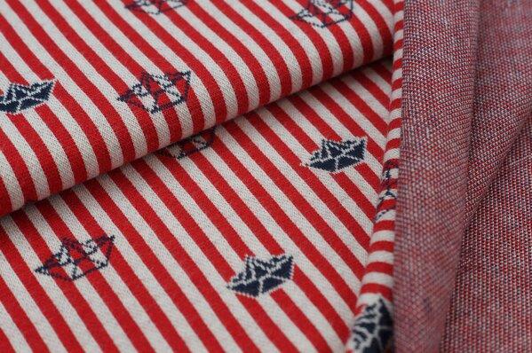 Jacquard-Sweat mit Papierschiffchen auf Streifen rot / off white / navyblau
