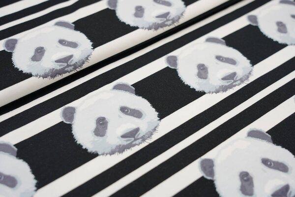 Baumwoll-Jerseystoff Pandakopf auf Streifen schwarz / weiß