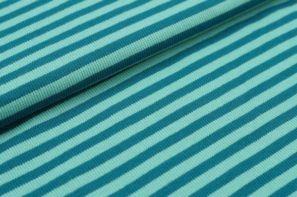 Ringelbündchen Marie petrol / eisblau Streifen