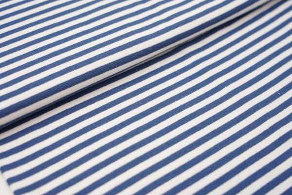 Ringelbündchen glatt Streifen weiss / jeansblau taupeblau