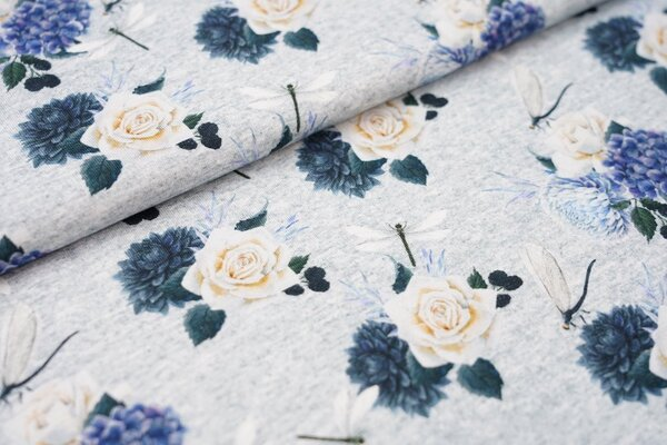 Digitaldruck Baumwoll-Jersey Blumen Rosen Libellen grau melierte Optik