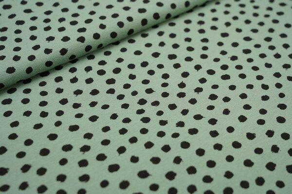 Baumwoll-Jersey schwarze getupfte Punkte auf altmint grün