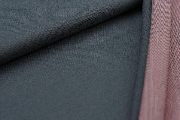 Jacquard-Sweat Ben dunkelgrau Uni mit dunkelgrauer und koralle Rückseite
