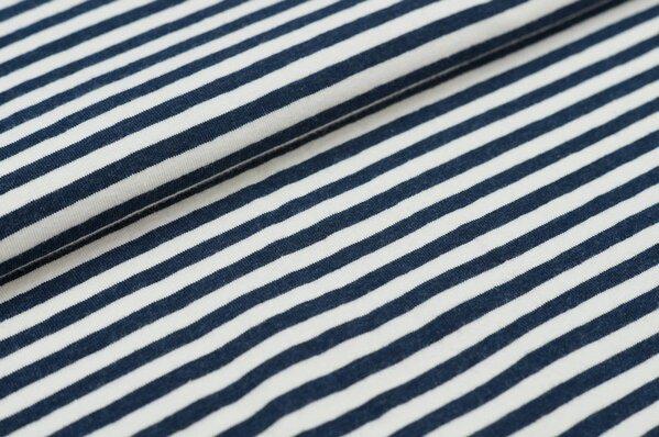 XXL Jersey Maya Streifen Ringel schmal navy blau melange / off white