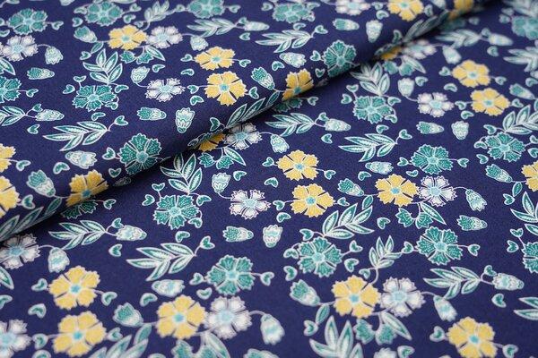 Baumwollstoff Blumen-Muster dunkelblau / petrol / ocker / hellblau / weiß