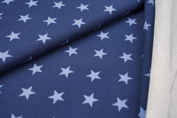 Baumwoll-Sweat große Sterne hellblau auf taupeblau jeansblau