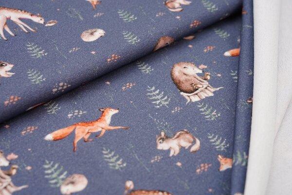 Baumwoll-Sweat Digitaldruck Waldtiere Bäume auf blaugrau Fuchs Dachs Igel Reh