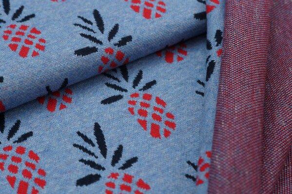 Jacquard-Sweat Mia mit Ananas auf jeansblau Melange rot / schwarz