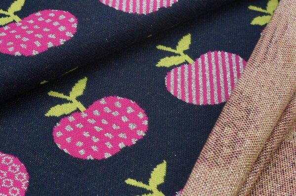 Jacquard-Sweat Ben amarant pink / silber Lurex Glitzer Äpfel auf sehr dunkelblau