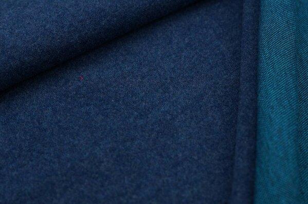 Kuschel Jacquard-Sweat Max Uni navy blau Melange mit türkis