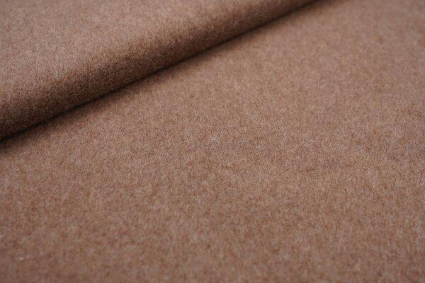Kuscheliger dicker uni Baumwoll-Fleece Stoff taupe braun melange