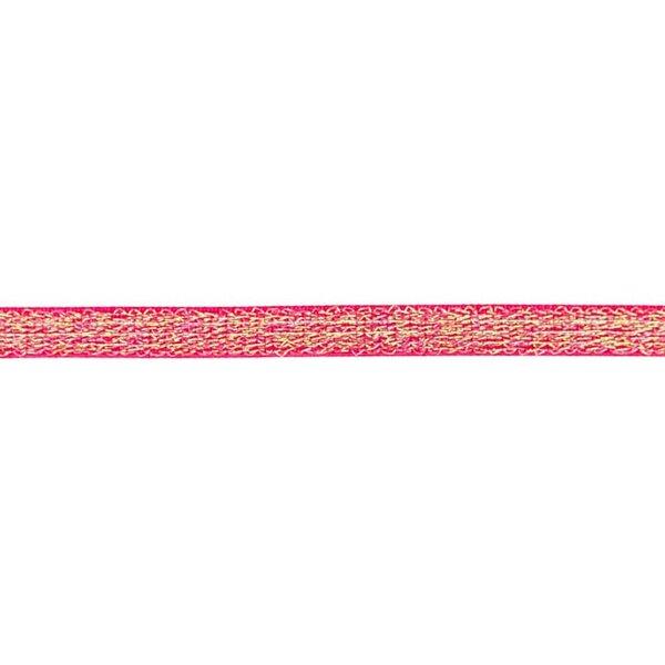 Schmales Gummiband mit irisierendem Glitzer pink 15 mm