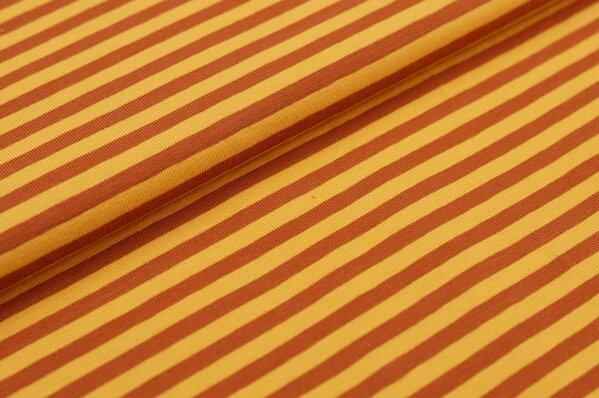 Baumwoll-Jersey Streifen Ringel senf / rostbraun