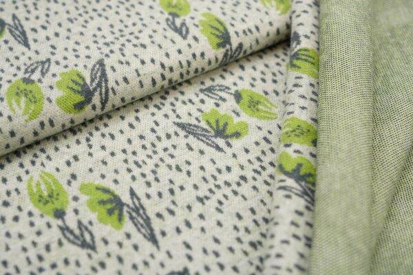 Jacquard-Jersey kleine Blumen / Punkte off white / dunkelgrau / hellgrün