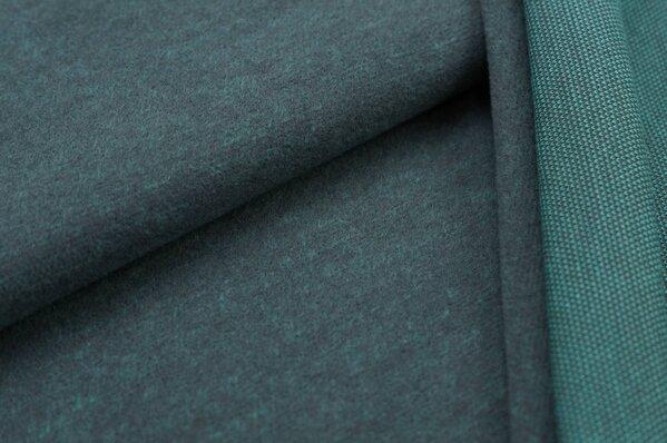Kuschel Jacquard-Sweat Max dunkelgrau Uni mit dunkelgrau und eisblauer Rückseite