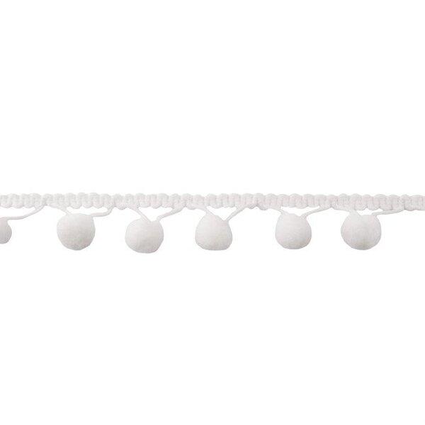 Bommelborte uni off white weiß 24 mm