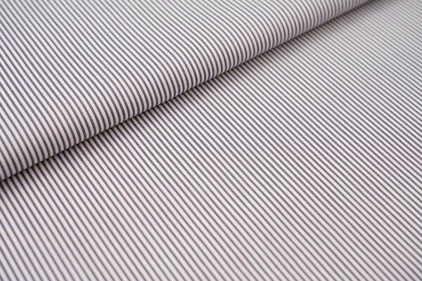 Baumwollstoff Ringel Streifen schmal dunkelgrau / weiß