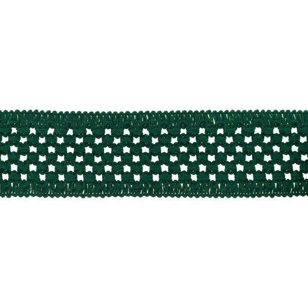 Elastisches Baumwollband in Häkeloptik uni waldgrün 50 mm