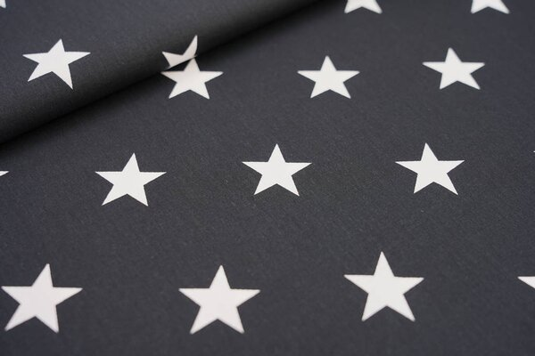 Baumwollstoff Baumwolle schwarz mit sehr großen weißen Sternen