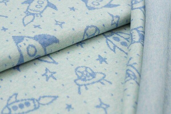 Jacquard-Sweat Mia Weltall Raketen Sterne Ufos pastell mint / jeansblau Melange