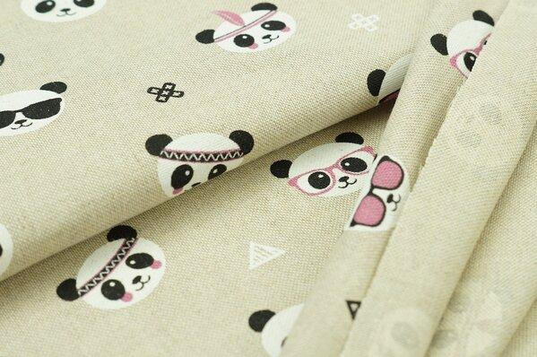 Dekostoff Leinenoptik Pandas Pandabären natur
