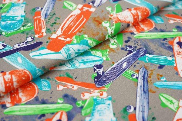 Baumwoll-Jersey Digitaldruck Skateboards und Farbkleckse auf grau