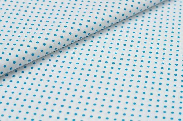Baumwollstoff Baumwolle kleine Punkte weiß / türkis