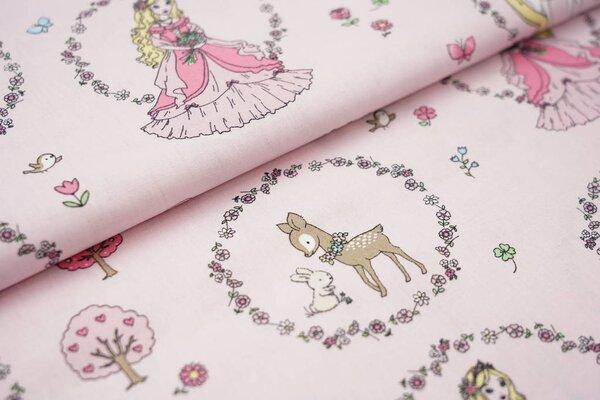 Baumwolle Prinzessin Einhorn Blumen Schloss Tiere auf rosa