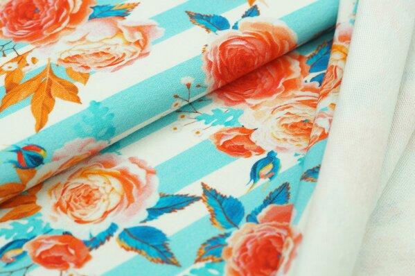 XXL Baumwoll-Sweat Digitaldruck Rosen auf Streifen türkis / off white / koralle