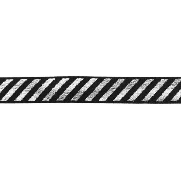 Gummiband mit diagonalen Glitzer Streifen silber auf schwarz 25 mm
