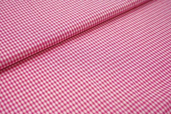 Baumwollstoff Baumwolle vichykaro Karomuster sehr klein kariert weiß / pink