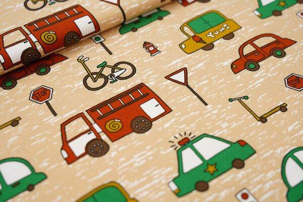 Baumwoll-Jersey Straßenverkehr Fahrzeuge Auto Lkw Fahrrad Roller Ampel auf beige