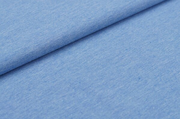 Baumwoll-Jersey uni blau meliert