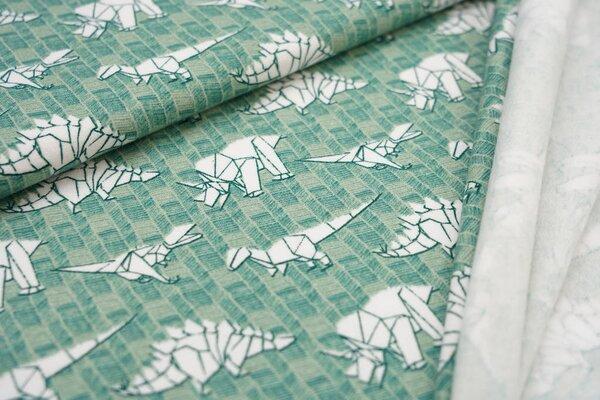 Kuscheliger Baumwoll-Sweat mit weißen Origami Dinosauriern auf grün