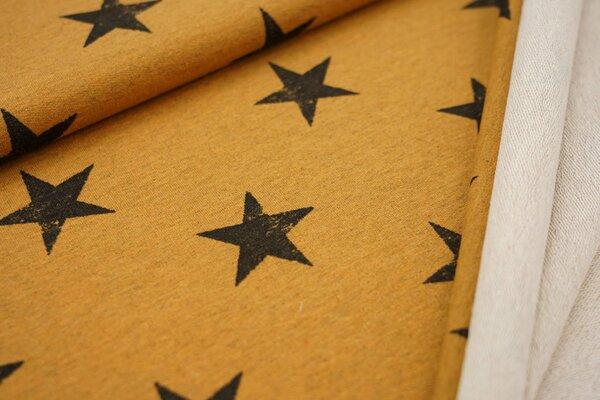 Baumwoll-Sweat schwarze Sterne auf orange meliert maritim