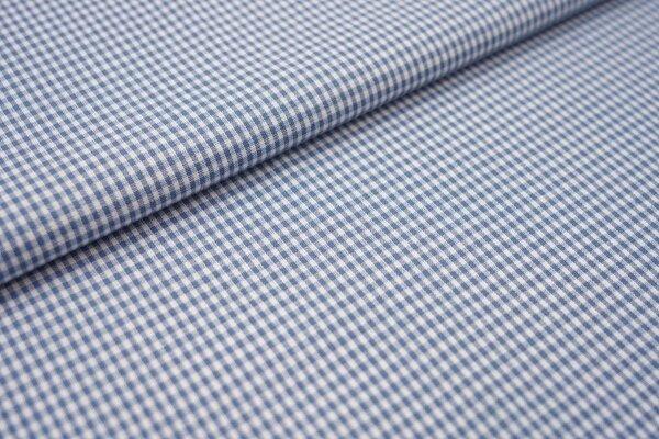 Baumwollstoff Baumwolle vichykaro Karomuster sehr klein kariert weiß / jeansblau taupeblau