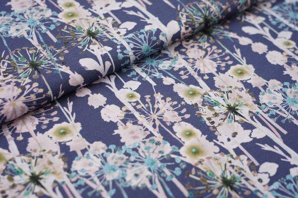 Baumwoll-Jersey Pusteblumen Pflanzen Gräser blau altrosa grün